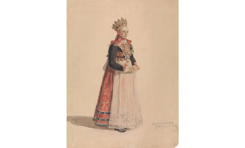 Ingeborg Andresdatter Gulsvig som gifta seg i Flå i 1849, teikna av den norske målaren, Adolph Tidemand. Brura har tradisjonell brurekrune på hovudet og brudedalar på bringa.