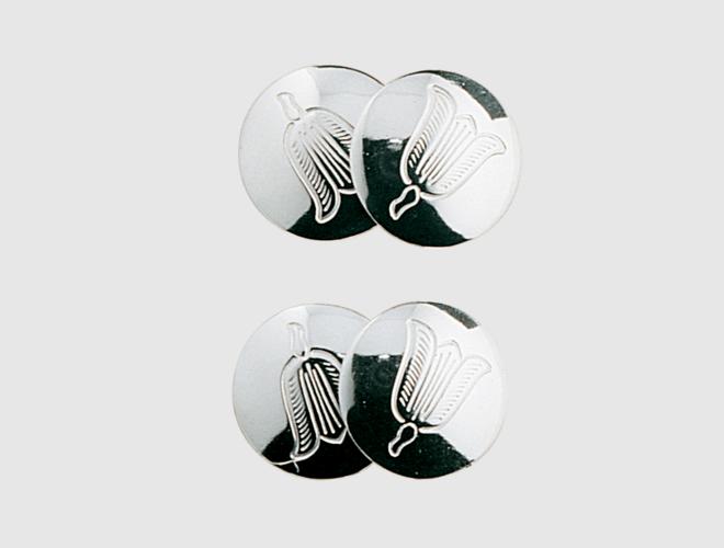 Mansj.knappar gravert, blåklokke, dobbel