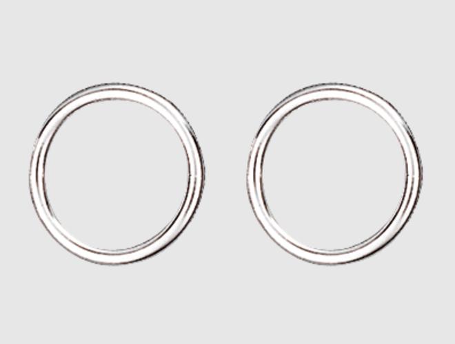Maljering, kvit, 13 mm, par