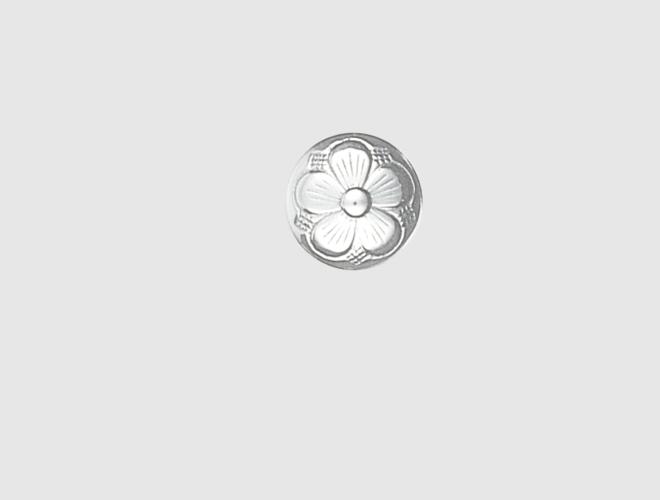Knapp, m.botn, kvit, 15 mm