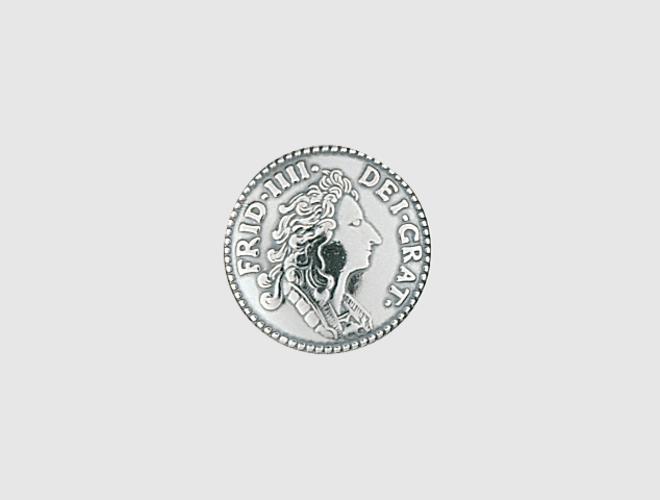 Knapp, m.lang hempe, oks, mynt, 16 mm