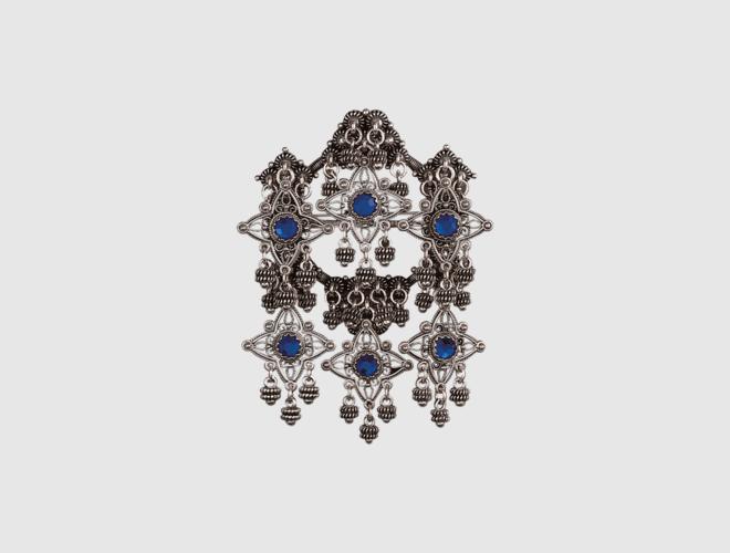 Sølje, oksidert m. blå stein