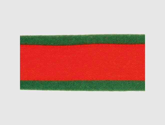 Stofflist, raud m.grøn kant