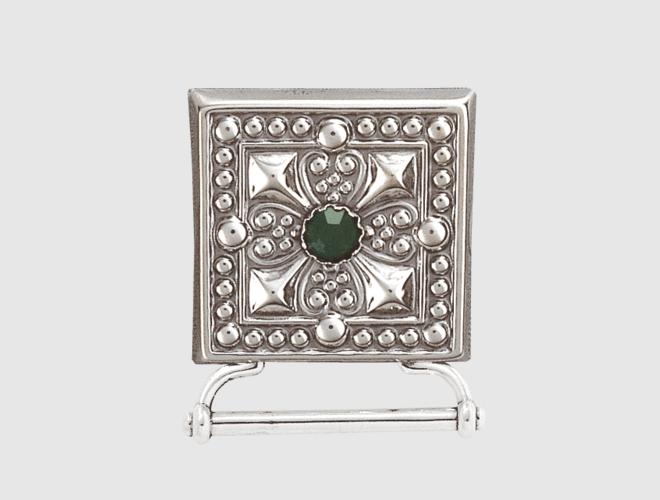 Veskestøl med lang hempe, oks. m. grøn stein