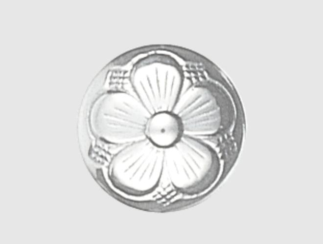 Knapp, kvit, 15 mm