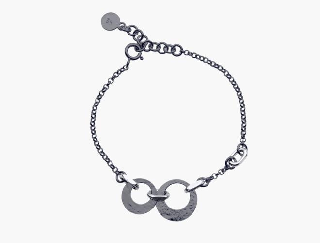 Armband, m.ringlauv,  oks/kvit