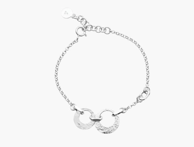 Armband, m.ringlauv, kvit