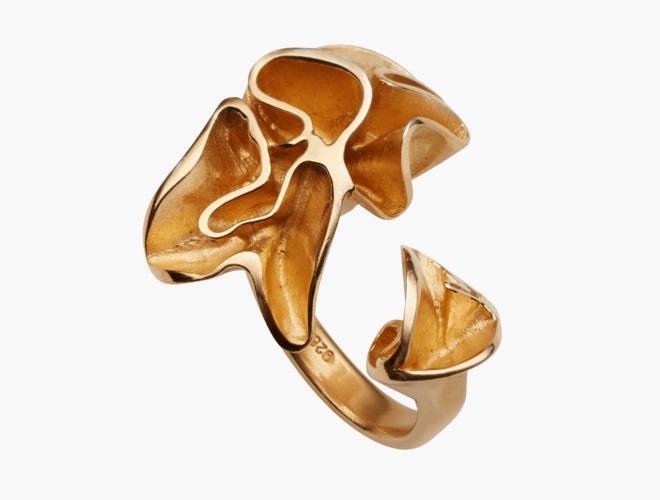 Ring, Lav, forgylt, stor str.