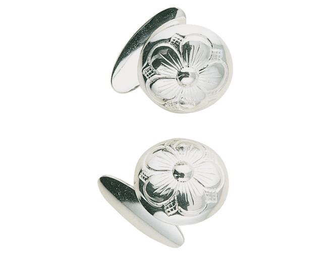 Mansjettknappar med botn, kvit