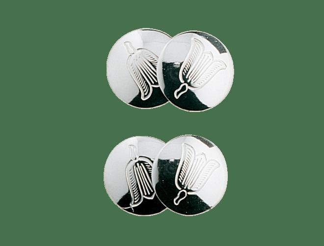 Mansjettknappar Lofoten gravert dobbel, kvit