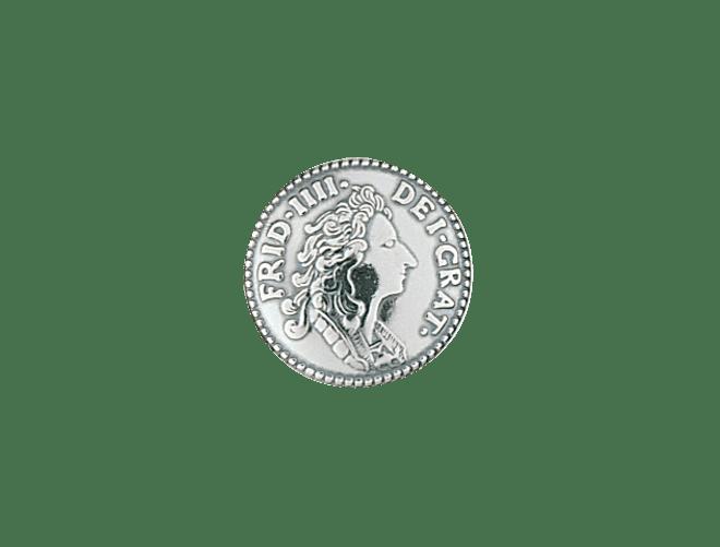 Knapp 16 mm mynt med lang hempe, oksidert