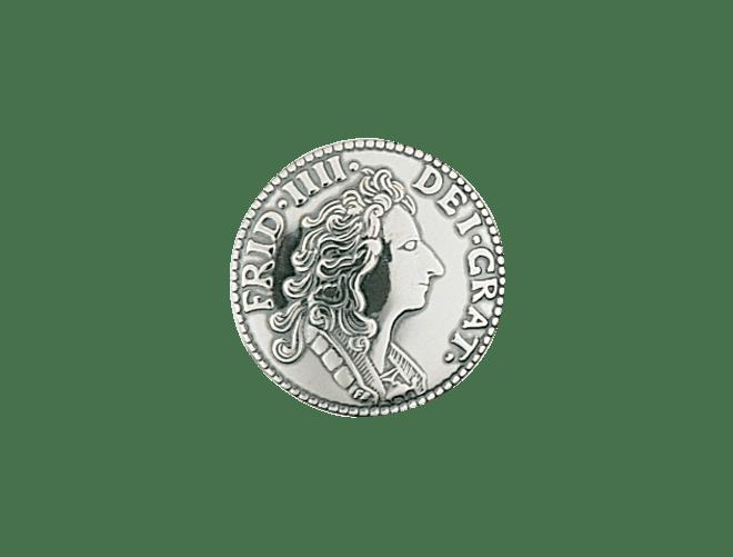 knapp mynt 19 mm m. lang hempe, oksidert