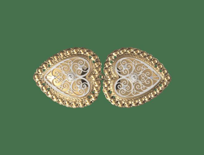 Beltespenne med kruser og syhol, forgylt/kvit