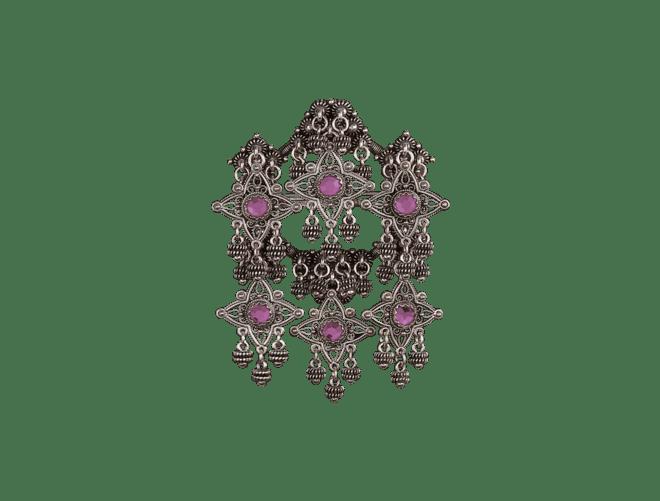 Sølje Telemark Bøheradsring med lilla stein, oksidert