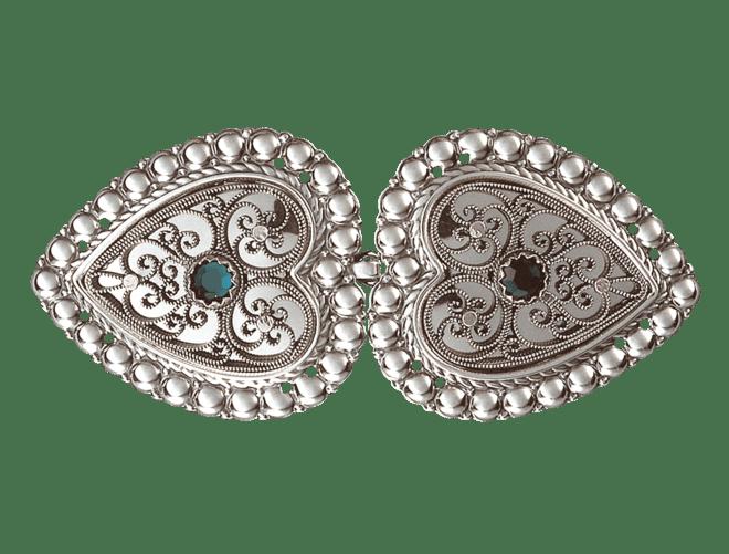 Beltespenne med grøn stein og syhol, oksidert