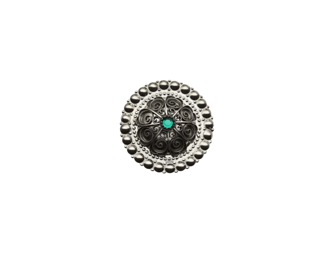 Hårspenne, oksidert med grøn stein