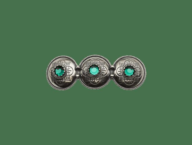 Hårspenne med grøn stein, oksidert