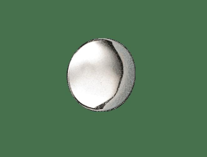 Knapp Voss 15 mm glatt med lang hempe, kvit