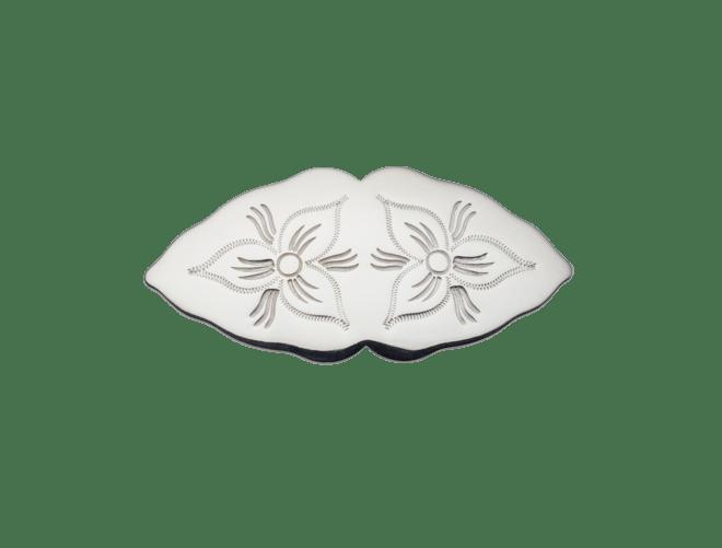 Hårspenne Rogaland gravert, lita, kvit