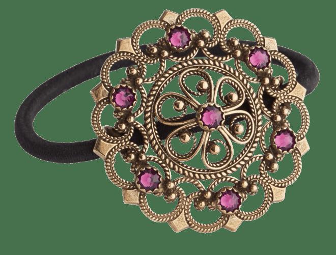 Hårstrikk i sølv - Rose med stein, gamalforgylt