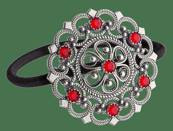 Hårstrikk - Rose med stein, oksidert