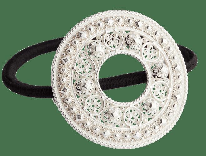 Hårstrikk i sølv - Trandem, kvit