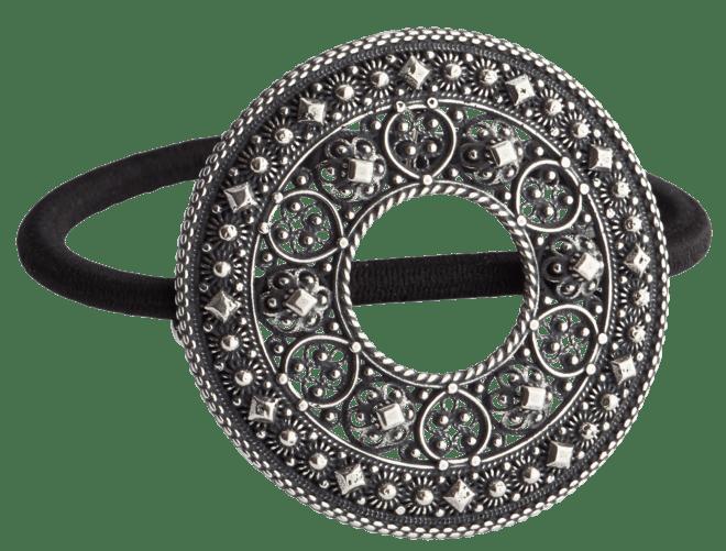 Hårstrikk i sølv - Trandem, oksidert