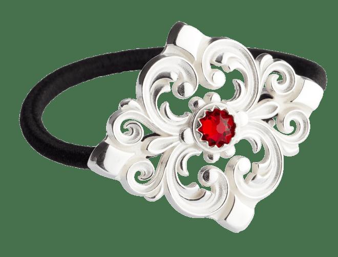 Hårstrikk i sølv - Akantus med stein, kvit