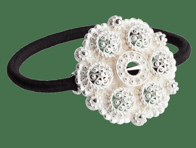 Hårstrikk i sølv - Minibolesølje, kvit