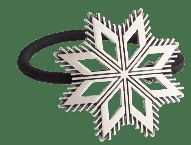 Hårstrikk i sølv - Åttebladrose, oksidert