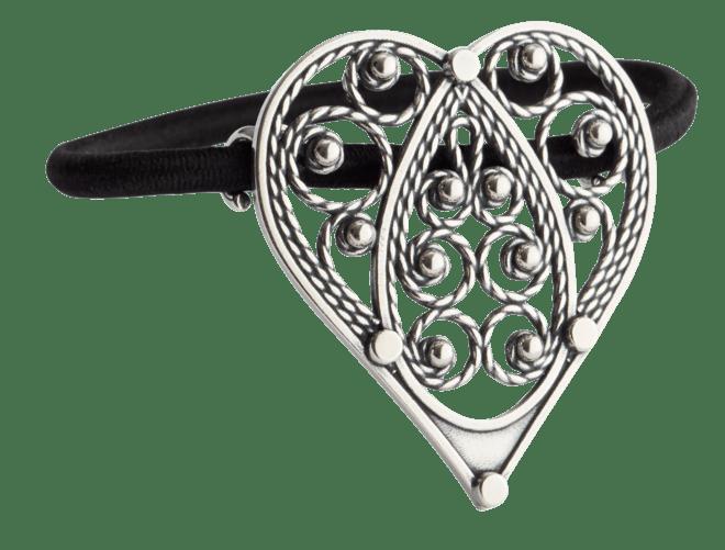 Hårstrikk i sølv - Hjartefiligran, oksidert