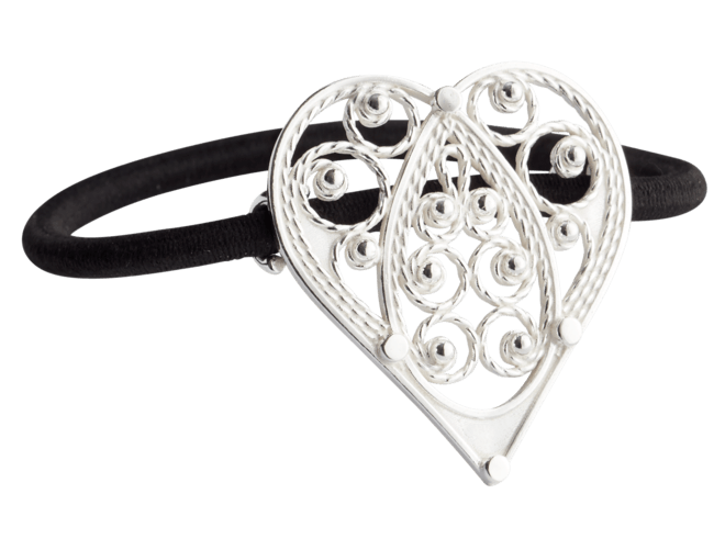 Hårstrikk i sølv - Hjartefiligran, kvit