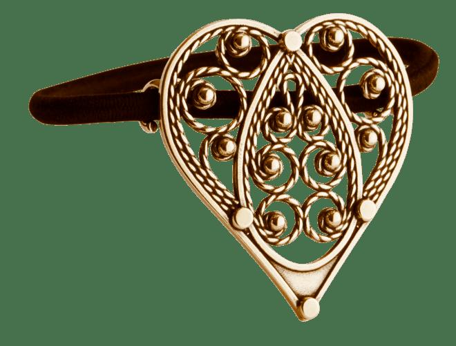 Hårstrikk i sølv - Hjartefiligran, gamalforgylt