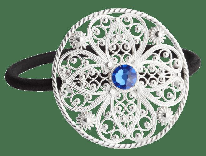 Hårstrikk i sølv - Filigran med stein, stor, kvit