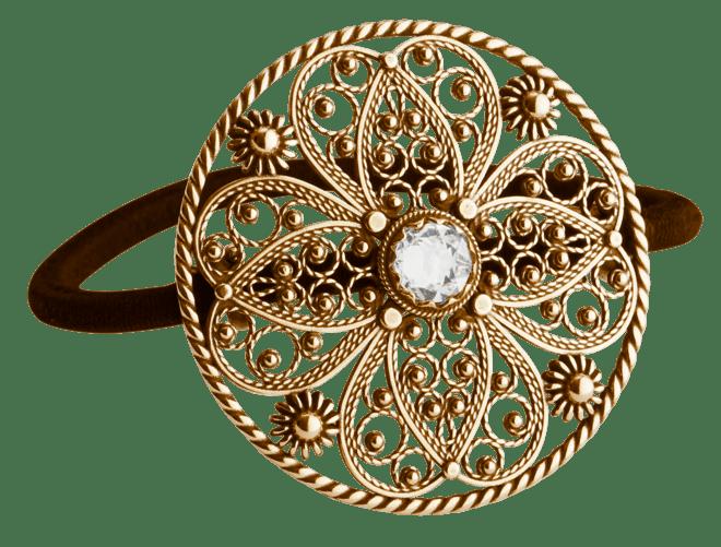 Hårstrikk i sølv - Filigran med stein, stor, gamalforgylt