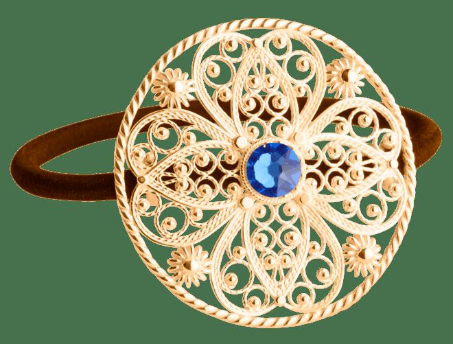 Hårstrikk i sølv - Filigran med stein, stor, forgylt