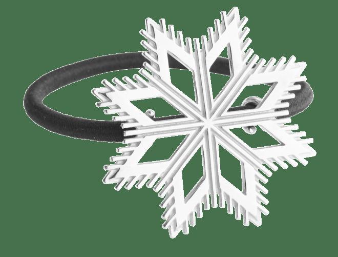 Hårstrikk i sølv - Åttebladrose, kvit