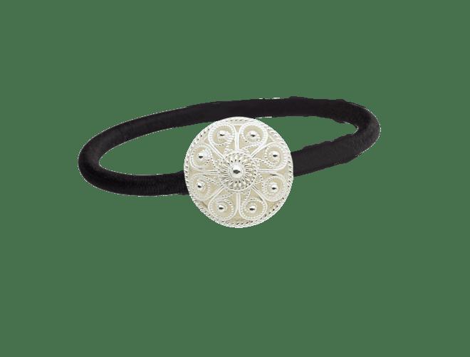 Hårstrikk i sølv - Filigransknapp, kvit