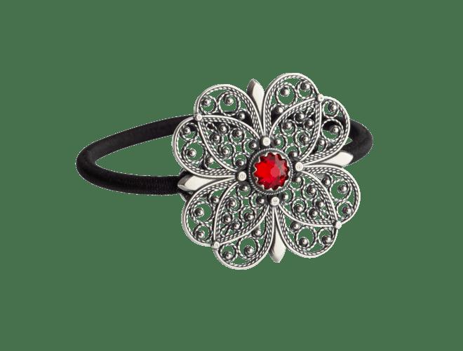 Hårstrikk i sølv - Filigran Blomst med stein, oksidert