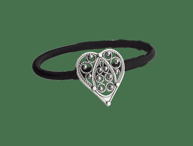Hårstrikk i sølv - Hjartefiligran, lita, oksidert