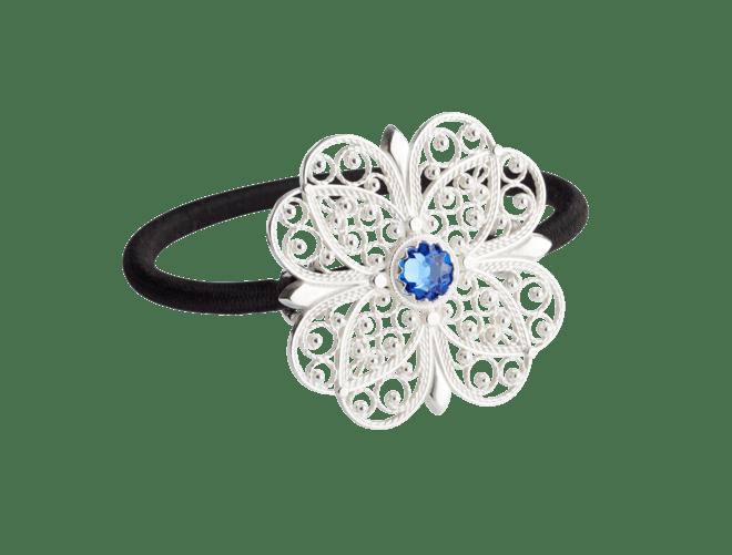 Hårstrikk i sølv - Filigran Blomst med stein,  kvit